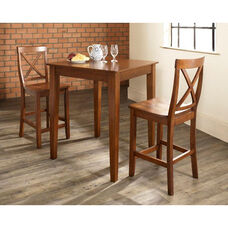 3 Piece Pub Dining Set with Tapered Leg and X-Back Stools - Classic Cherry Finish