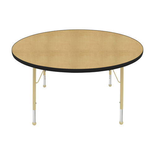 Our Adjustable Standard Height Laminate Top Round Activity Table - Maple Top with Black Edge and Legs - 48