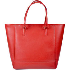 Charlotte Tote Bag - Saffiano Genuine Leather - Red