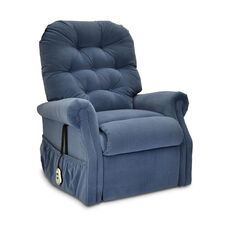 Three way Reclining Power Lift Chair with Matching Arm and Headrest Covers - Aaron Williamsburg Blue Fabric