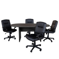 5 Piece Rustic Gray Oval Conference Table Set with 4 Black LeatherSoft-Padded Task Chairs