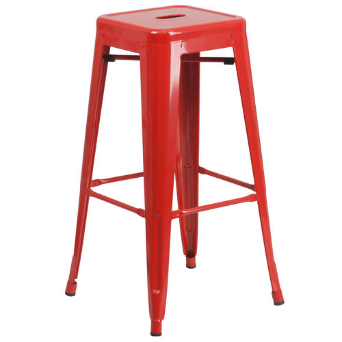 "Our Commercial Grade 30"" High Backless Red Metal Indoor-Outdoor Barstool with Square Seat is on sale now."