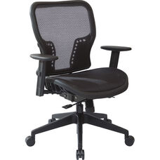 Space Executive Dark Air Grid Seat and Back Office Chair with PU Padded Arms