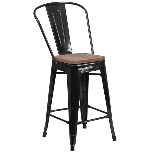 """Our 24"""" High Black Metal Counter Height Stool with Back and Wood Seat is on sale now."""