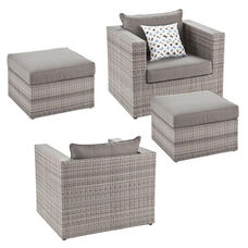 Bristow Outdoor Faux Wicker 2 Deep Seating Chairs and 2 Ottomans with 2 Decorative Pillows - Gray