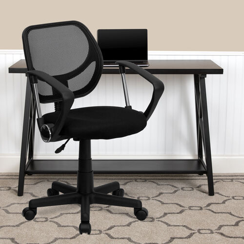 Low Back Mesh Swivel Task Office Chair with Curved Square Back and Arms