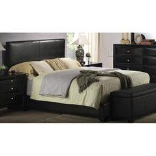 Ireland III Faux Leather Panel Bed - Full - Black