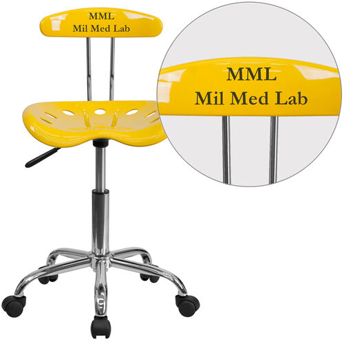 Our Personalized Vibrant Orange-Yellow and Chrome Swivel Task Office Chair with Tractor Seat is on sale now.