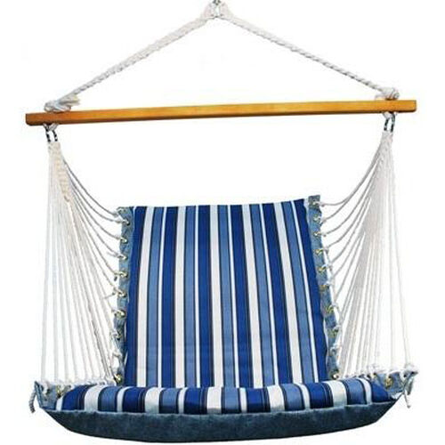 Our Soft Comfort Cushion Soft Polyester Hanging Hammock Rope Chair - Tropical Palm Stripe Blue is on sale now.