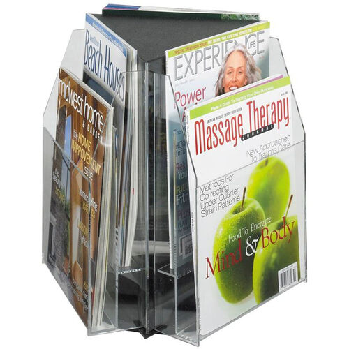 Our Reveal™ Rotating Tabletop Display Triangle Six Magazine - Clear is on sale now.