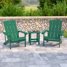 2 Pack Charlestown All-Weather Poly Resin Wood Adirondack Chairs with Side Table in Green