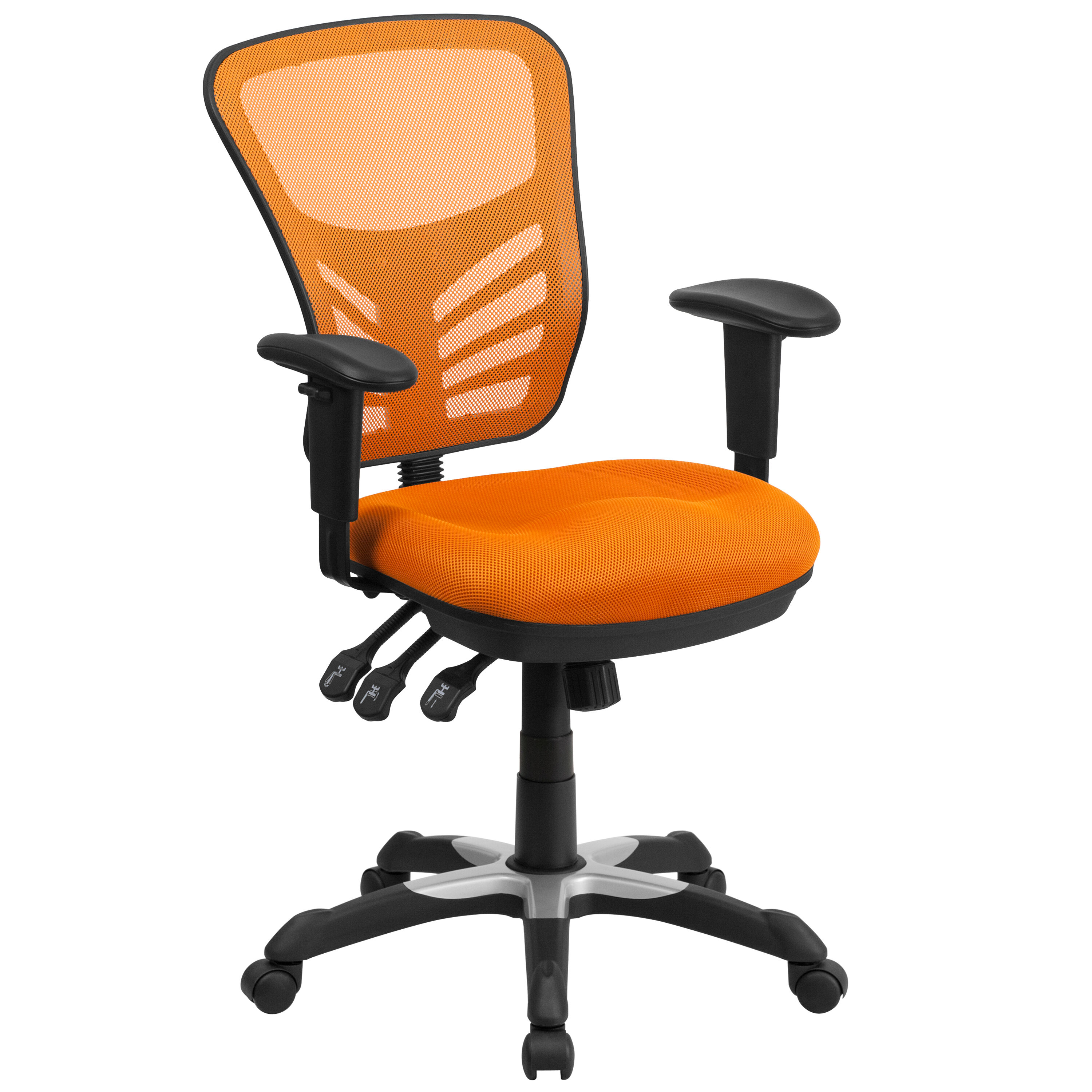 Attrayant ... Our Mid Back Orange Mesh Multifunction Executive Swivel Chair With  Adjustable Arms Is On Sale ...