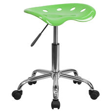 Vibrant Apple Green Tractor Seat and Chrome Stool