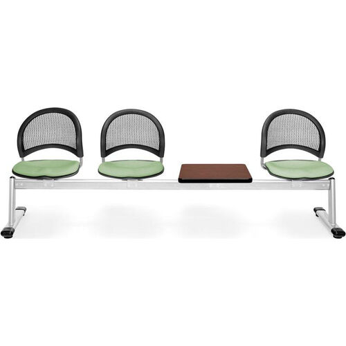 Our Moon 4-Beam Seating with 3 Sage Green Fabric Seats and 1 Table - Mahogany Finish is on sale now.