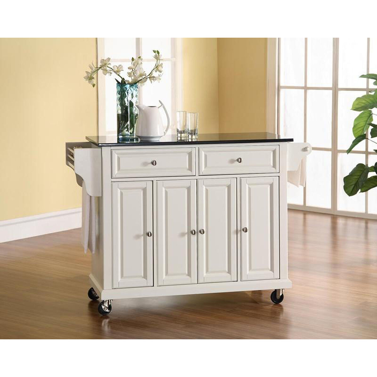 Our Solid Black Granite Top Kitchen Island Cart With Cabinets White Finish Is On