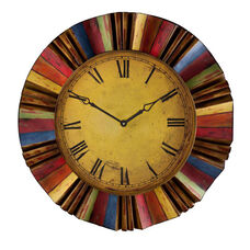 Yellow Face Roman Numeral 30.5'' Diameter Wall Clock with Multi Color Rays