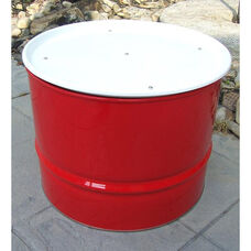 Red Steel Drum Table with White Top