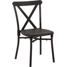 Work Smart X-Back Plastic Stacking Chair with Aluminum Frame - Set of 13 - Includes Dolly - Black