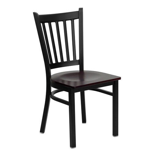 Our Black Vertical Back Metal Restaurant Chair with Mahogany Wood Seat is on sale now.