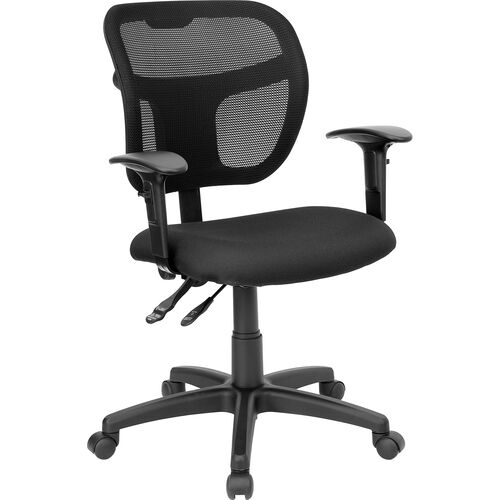 Our Mid-Back Black Mesh Swivel Task Office Chair with Back Height Adjustment and Adjustable Arms is on sale now.