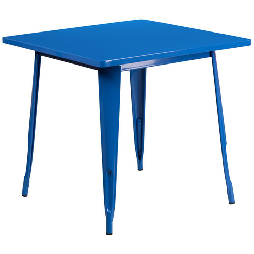 "Our Commercial Grade 31.5"" Square Blue Metal Indoor-Outdoor Table is on sale now."