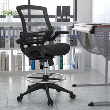 Mid-Back Transparent Black Mesh Drafting Chair with Black Frame and Flip-Up Arms