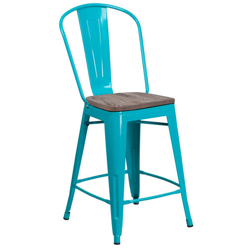 """Our 24"""" High Crystal Teal-Blue Metal Counter Height Stool with Back and Wood Seat is on sale now."""