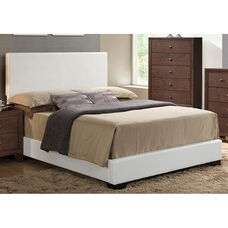 Ireland III Faux Leather Panel Bed - Queen - White