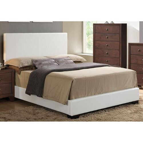 Our Ireland III Faux Leather Panel Bed - Queen - White is on sale now.