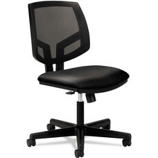 HON® Volt Series Black Mesh Back Task Chair with Synchro-Tilt and Black Leather Seat