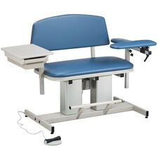 Hands Free Adjustable Power Series Bariatric Blood Drawing Chair with Padded Flip Arm and Drawer