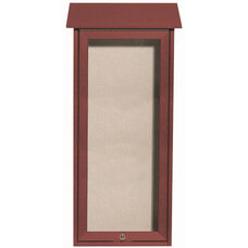 Rosewood Slimline Series Top Hinged Single Door Plastic Lumber Message Center with Vinyl Surface - 34