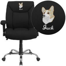 Embroidered HERCULES Series Big & Tall 400 lb. Rated Black Fabric Deep Tufted Ergonomic Task Office Chair with Arms