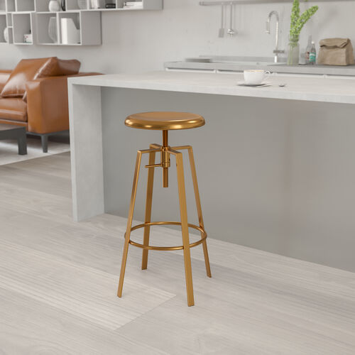 Toledo Industrial Style Barstool with Swivel Lift Adjustable Height Seat