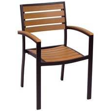Largo Stackable Arm Chair - Synthetic Teak Seat & Back and Black Frame