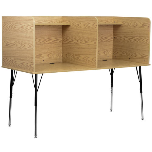 Our Double Wide Study Carrel with Adjustable Legs and Top Shelf in Oak Finish is on sale now.