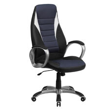 High Back Black Vinyl Executive Swivel Chair with Blue Mesh Inserts and Arms