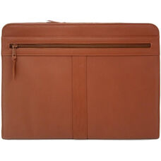Executive Zip Around Writing Portfolio with Cell Phone Pocket - Top Grain Nappa Leather - Tan