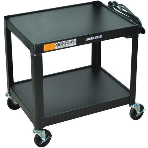 Our Fixed Height 2 Shelf Mobile Steel A/V Cart - Black - 24