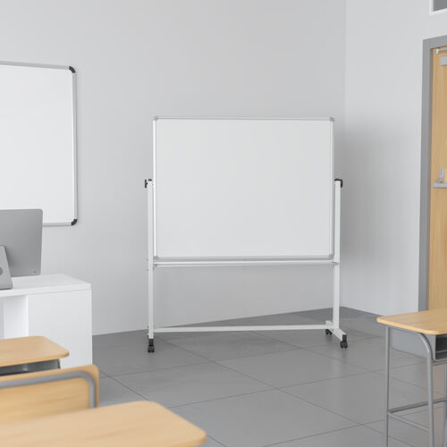 """HERCULES Series 53""""W x 62.5""""H Double-Sided Mobile White Board with Pen Tray"""