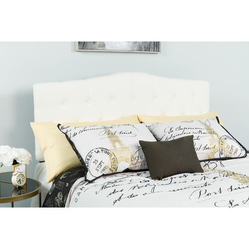 Our Cambridge Tufted Upholstered Twin Size Headboard in White Fabric is on sale now.