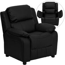Deluxe Padded Contemporary Black LeatherSoft Kids Recliner with Storage Arms