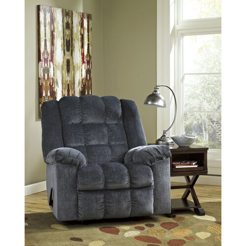 Our Signature Design by Ashley Ludden Rocker Recliner in Blue Twill is on sale now.