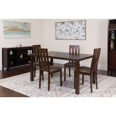 Clinton 5 Piece Espresso Wood Dining Table Set with Vertical Slat Back Wood Dining Chairs - Padded Seats