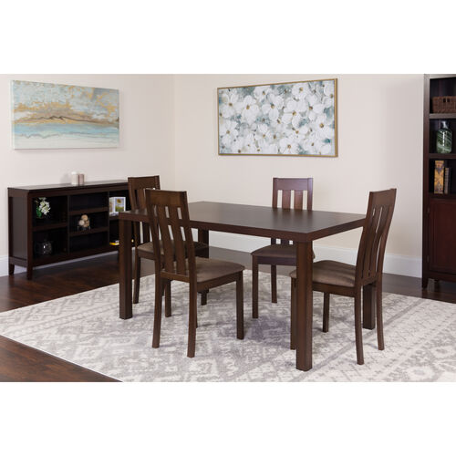 Our Clinton 5 Piece Espresso Wood Dining Table Set with Vertical Slat Back Wood Dining Chairs - Padded Seats is on sale now.