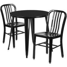 """Commercial Grade 30"""" Round Black Metal Indoor-Outdoor Table Set with 2 Vertical Slat Back Chairs"""