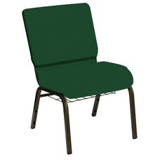 HERCULES Series 21''W Church Chair in E-Z Wallaby Forest Vinyl with Book Rack - Gold Vein Frame