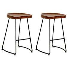 Potter Walnut Indoor Wood Counter Stool with Metal Legs - Set of 2