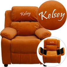 Personalized Deluxe Padded Orange Microfiber Kids Recliner with Storage Arms