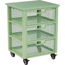 OSP Designs Garret 3 Drawer Rolling Cart with Wood Top - Green